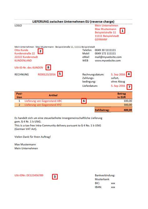 Muster Rechnung Ger Stbau Rechnung F 252 R B2b Lieferungen In Der Eu Charge Ultrasmart All Digital Heavy Duty
