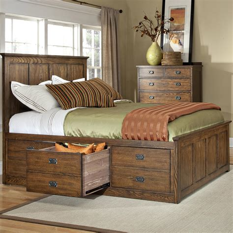 Size Bedroom Sets With Underbed Storage by Intercon Oak Park Op Br 5853ck Mis C Mission California