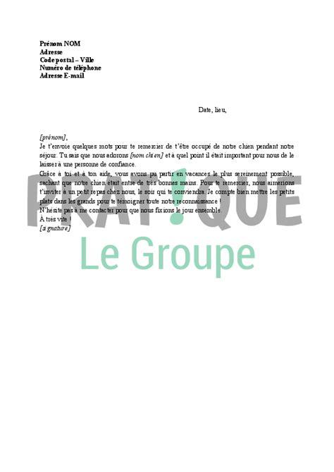 Exemple De Lettre De Remerciement Pour L Accueil lettre de remerciement pour la garde d un chien pratique fr