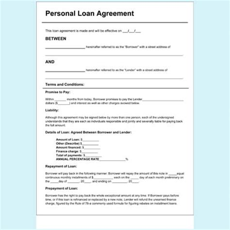 Personal Loan Application Letter Pdf Personal Loan Agreement Forms And Templates Free At Blue Templates
