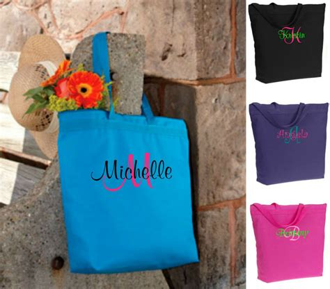 personalized monogrammed tote bags bridesmaid gift