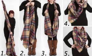 How To Fold An Infinity Scarf 4 Ways To Wear A Blanket Scarf Look By M Tartan Plaid Scarf
