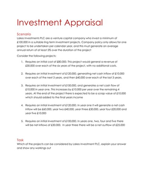 investment appraisal report template lesson plan by aj110383 teaching resources tes