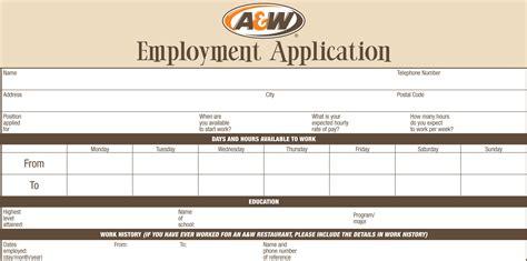 printable job application whataburger a w job application printable job employment forms