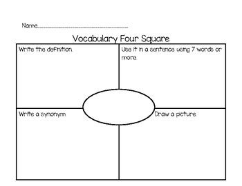 vocabulary four square graphic organizer by inspiration by