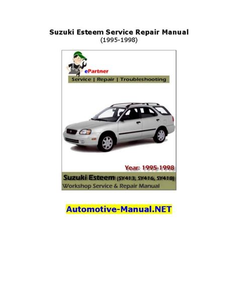 manual repair autos 1995 suzuki esteem engine control service manual 1998 suzuki esteem maintenance manual 1998 2001 suzuki esteem wiring diagram