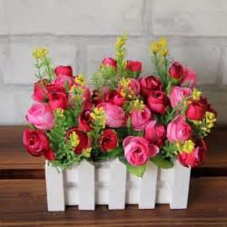 Artificial Flowers For Garden 2016 White Fir Wood Fence Pastoral Flowerpot Vertical Garden Pots Planters Supplies For Plastic