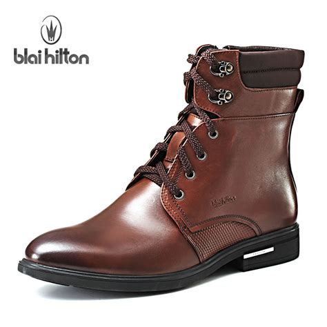 fur cheap mens ankle boots waterproof cowboy leather boots