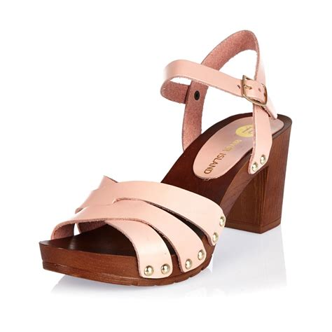 clog sandals for lyst river island pink leather clog sandals in pink