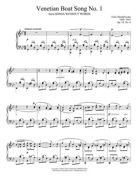 venetian boat song venetian boat song no 1 op 19 no 6 felix