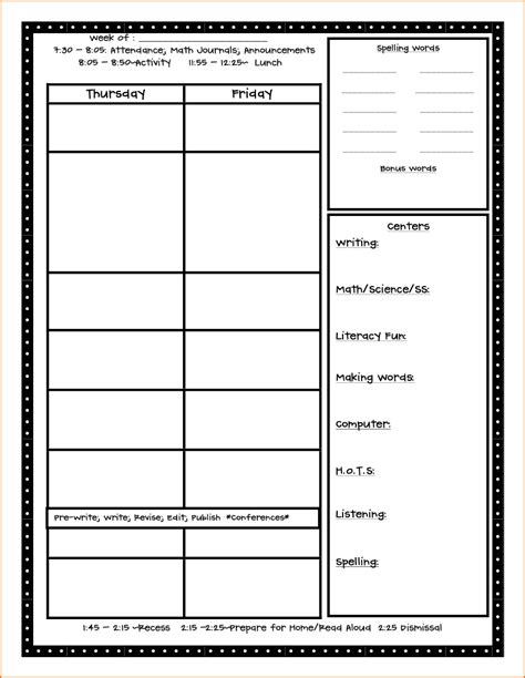 Printable Lesson Plan For 1st Grade | 5 free lesson plan template teknoswitch