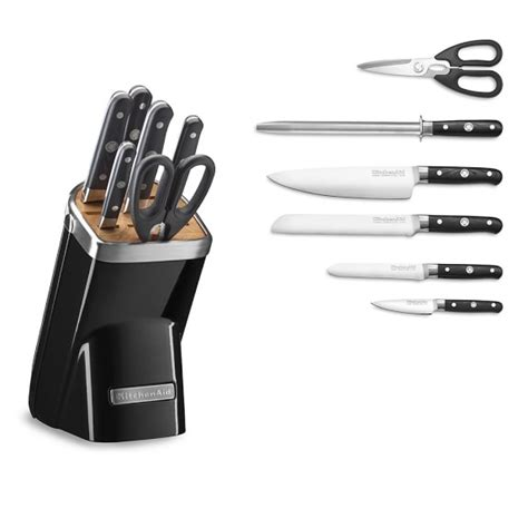 professional kitchen knives set kitchenaid 174 7 piece professional knife set onyx black