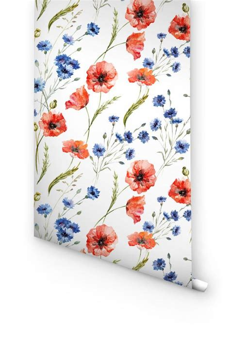 Wall Paper Wall Sticker Photo Wall Poppy 8 257 cornflower poppy flower self adhesive wallpaper for heavenly transformation of your room