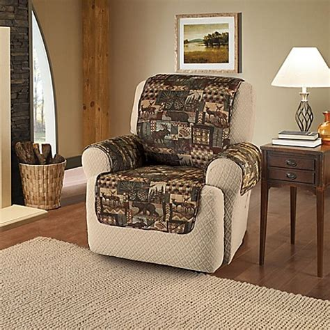 bed bath and beyond recliner lodge recliner and wing chair cover in brown bed bath