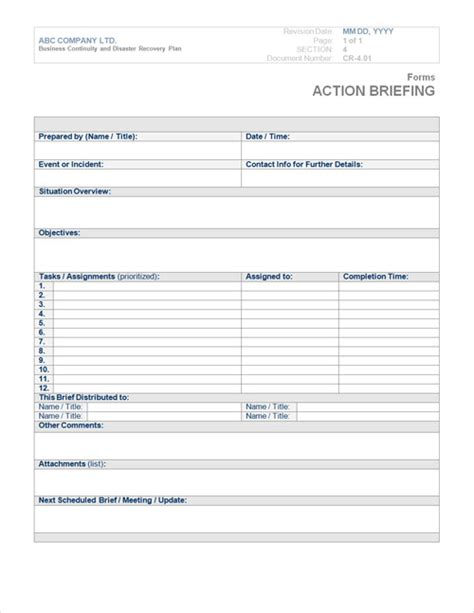templates for forms in business business continuity plan template form steamwire com