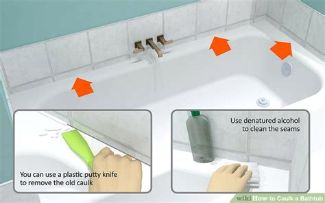 how to take caulking off a bathtub how to caulk a bathtub 10 steps with pictures wikihow