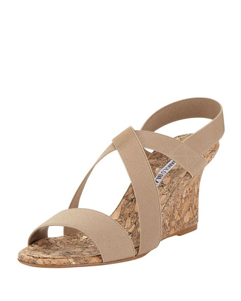 beige wedge sandal manolo blahnik terwe elastic cork wedge sandal beige in