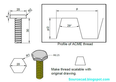 solidworks tutorial how to draw a bolt tutorial to design 3d acme bolt in autocad grabcad