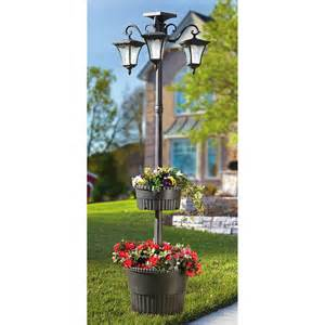solar lit l post with planters 225706 solar
