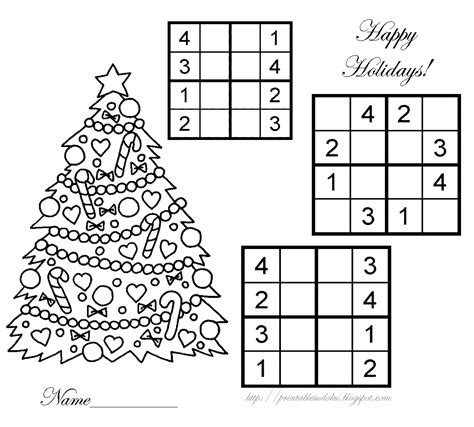 printable holiday sudoku printable sudoku