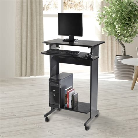 stand up desk for home homcom home office wheeled stand up computer desk