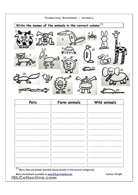 Esl Printable Animal Worksheets | vocabulary worksheet animals english 4th grade