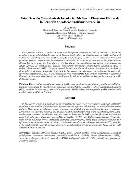 (PDF) Estabilización Consistente de la Solución Mediante