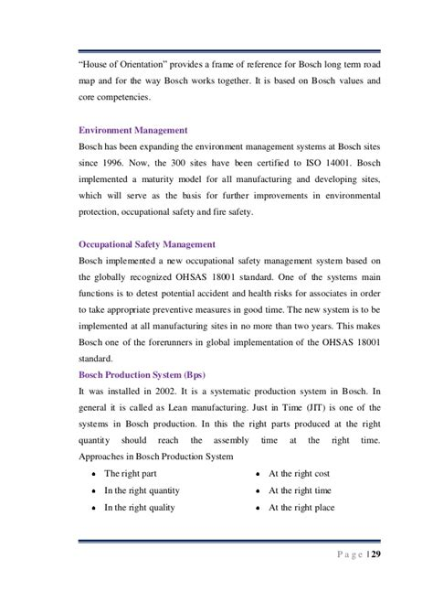 Term Projects For Mba Students by Bosch Project Part A For Mba Student