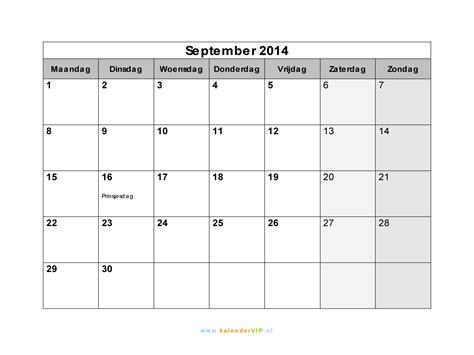 kalender september  met weeknummers en feestdagen  excel