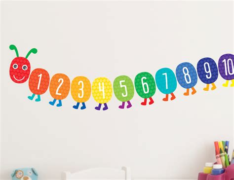 wall stickers numbers 21pc bright playroom wall decals stickers counting caterpillar ebay