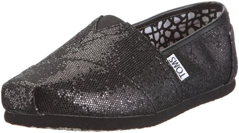 toms glitter shoes for toms classic black glitter womens canvas espadrille shoes