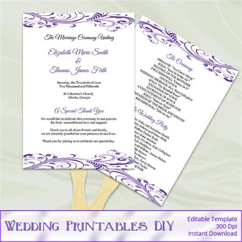 items similar to purple wedding program fan template diy