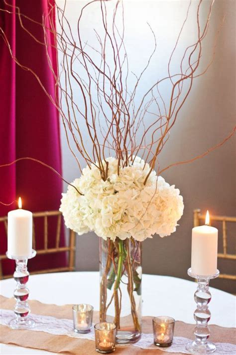 curly willow and hydrangea centerpiece diy wedding by