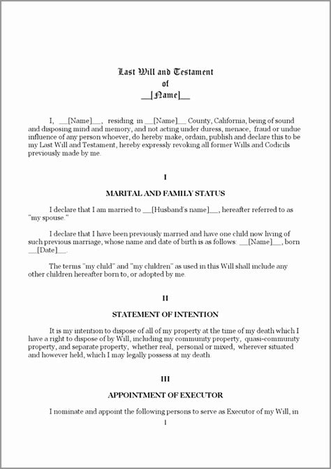 12 Last Will And Testament Template Word Gytip Templatesz234 Best Free Last Will And Testament Template