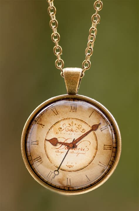 clock pendant antique clock necklace vintage by