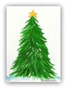 christmas tree painting aceo original watercolor painting