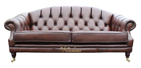 brown settee victoria 3 seater chesterfield leather sofa settee antique