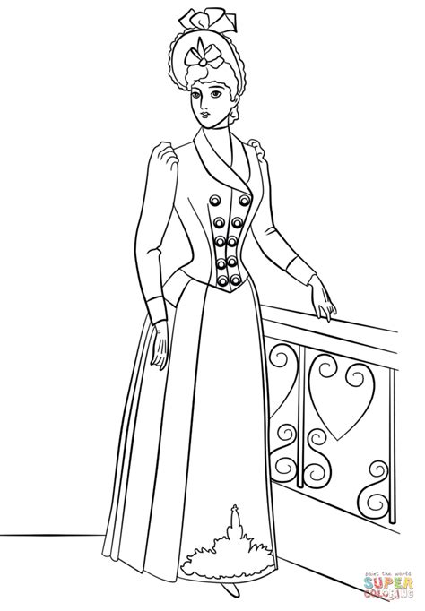 victorian fashion coloring page  printable coloring