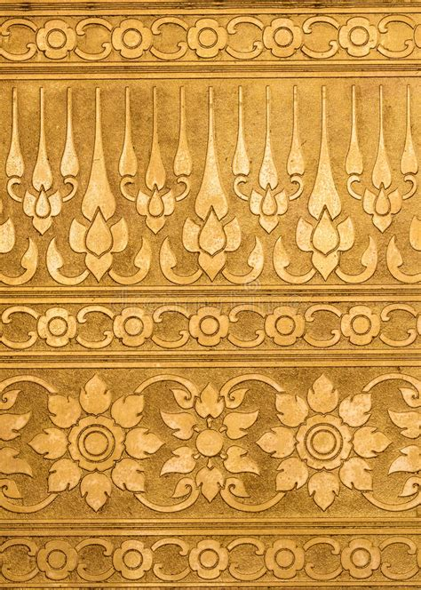 anti pattern gold plating golden metal with thai traditional carving in contemporary