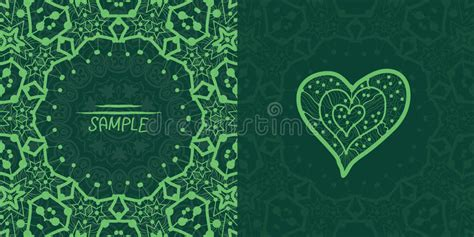 invitation card design green ornamental green vector square flyer card design stock