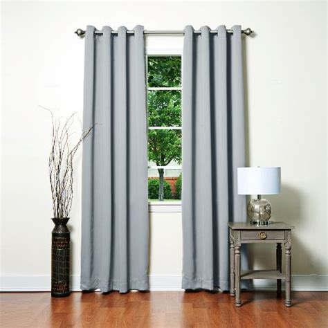 grey solid grommet top thermal insulated blackout curtains