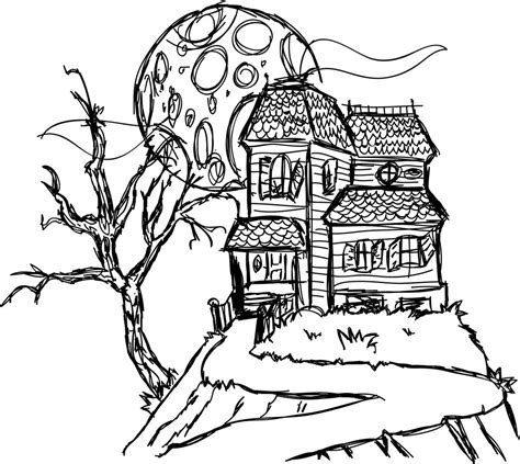 haunted house coloring pages free printable haunted house coloring pages for