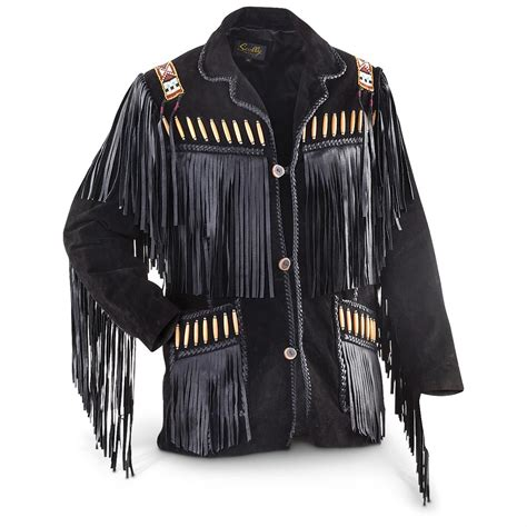 Scully® Fringed / Beaded Leather Jacket, Black   229301