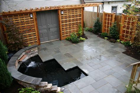 tiny yard  koi pond contemporary patio chicago