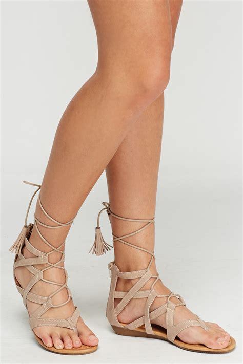 tie up sandals tie up beige sandals just 163 5