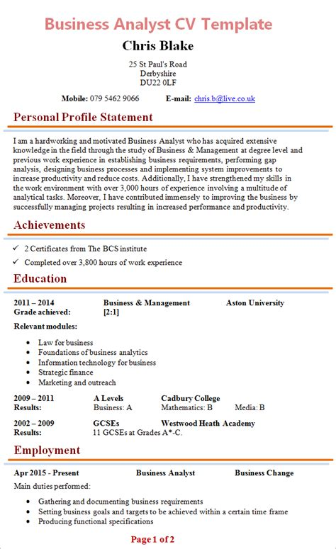 Cv In Business Business Analyst Cv Template