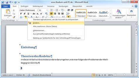 Lebenslauf Formatvorlage Word 2010 Formatvorlagen Anpassen In Microsoft Word 2010