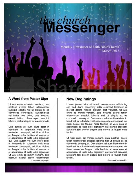 celebration church newsletter template template