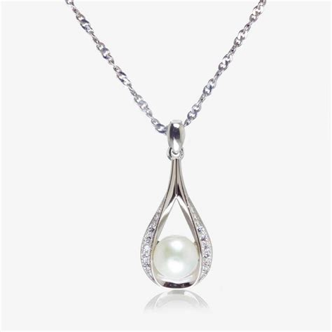 Necklace In Sterling Silver by The Suzette Sterling Silver Cultured Freshwater Pearl Necklace