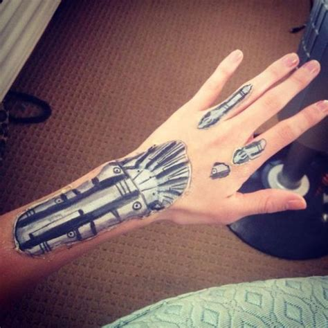 robot hand tattoo bodypaint temporary for womens robotic